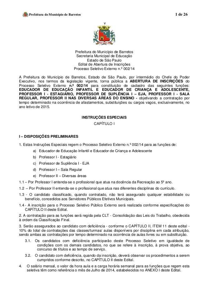 Prefeitura do Município de Barretos 1 de 26  v  Prefeitura do Município de Barretos  Secretaria Municipal de Educação  Est...