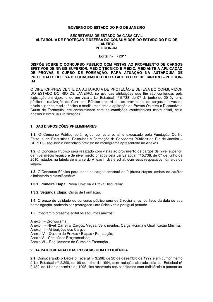 GOVERNO DO ESTADO DO RIO DE JANEIRO                  SECRETARIA DE ESTADO DA CASA CIVIL   AUTARQUIA DE PROTEÇÃO E DEFESA D...