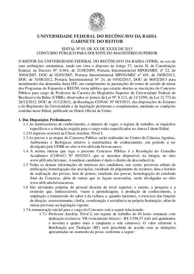 UNIVERSIDADE FEDERAL DO RECÔNCAVO DA BAHIAGABINETE DO REITOREDITAL Nº 05, DE XX DE XXXX DE 2013CONCURSO PÚBLICO PARA DOCEN...