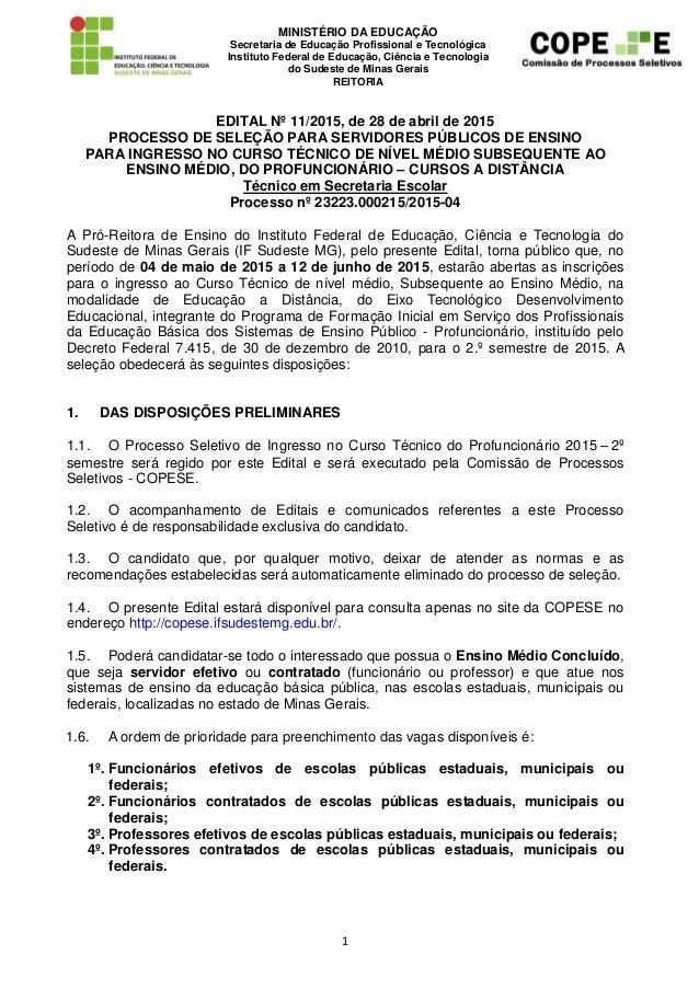 1 MINISTÉRIO DA EDUCAÇÃO Secretaria de Educação Profissional e Tecnológica Instituto Federal de Educação, Ciência e Tecnol...