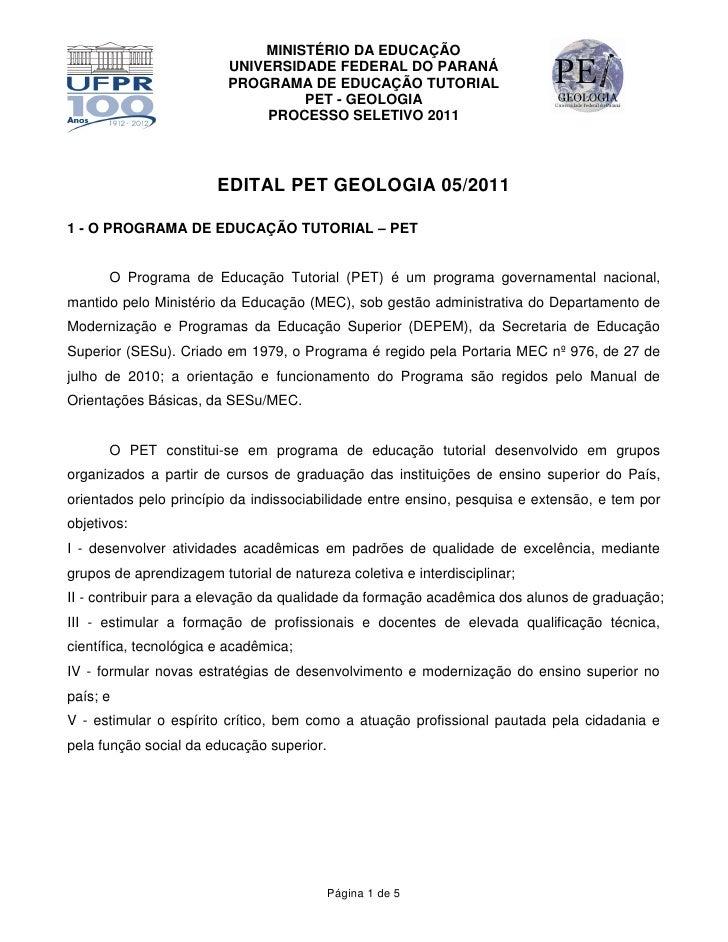 MINISTÉRIO DA EDUCAÇÃO                         UNIVERSIDADE FEDERAL DO PARANÁ                         PROGRAMA DE EDUCAÇÃO...