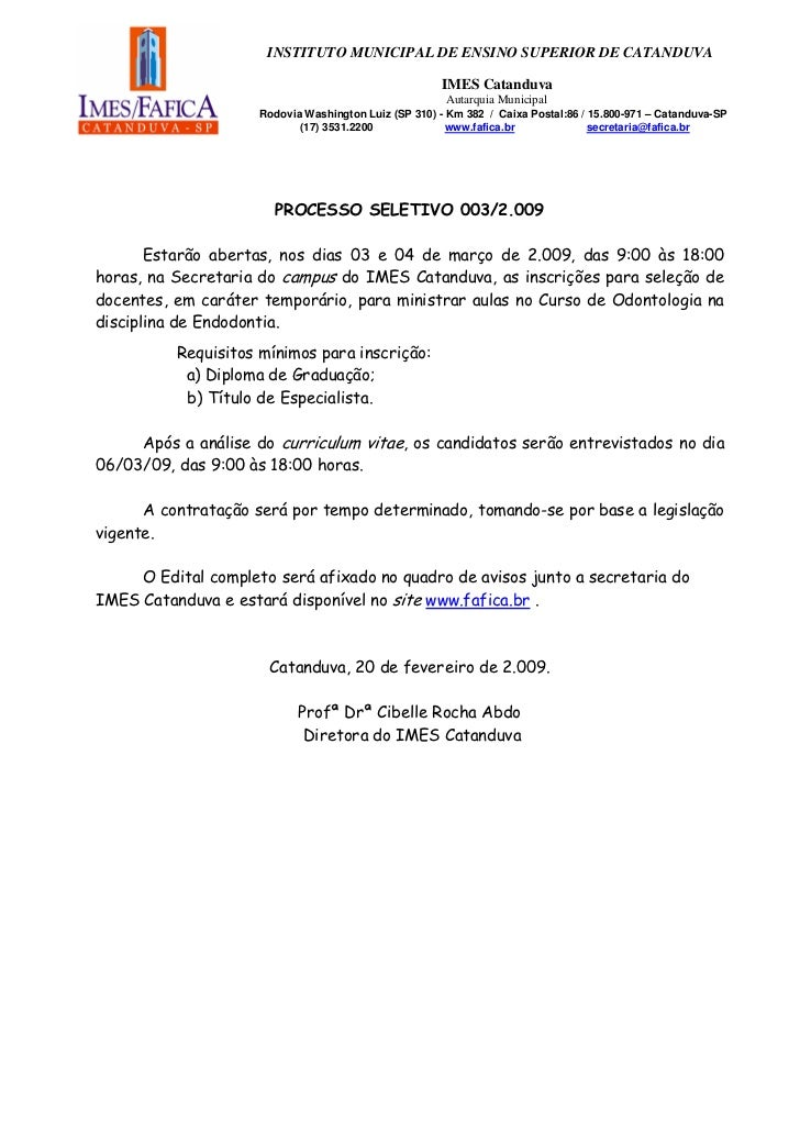 INSTITUTO MUNICIPAL DE ENSINO SUPERIOR DE CATANDUVA                                                      IMES Catanduva   ...