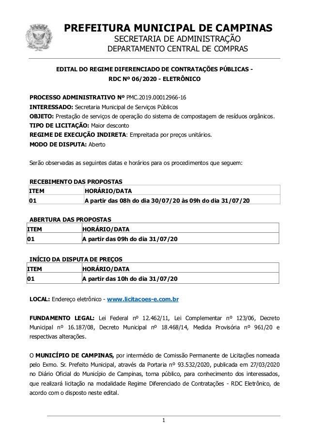 PREFEITURA MUNICIPAL DE CAMPINAS SECRETARIA DE ADMINISTRAÇÃO DEPARTAMENTO CENTRAL DE COMPRAS 1 EDITAL DO REGIME DIFERENCIA...