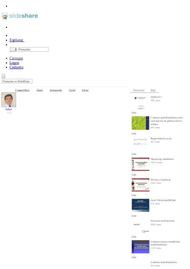 EnviarPesquisar Carregar Logon Cadastro Pesquise no SlideShare Explorar Compartilhar Email Incorporado Curtir Salvar Follo...