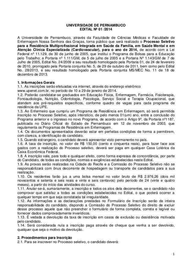 UNIVERSIDADE DE PERNAMBUCO EDITAL Nº 01 /2014 A Universidade de Pernambuco, através da Faculdade de Ciências Médicas e Fac...