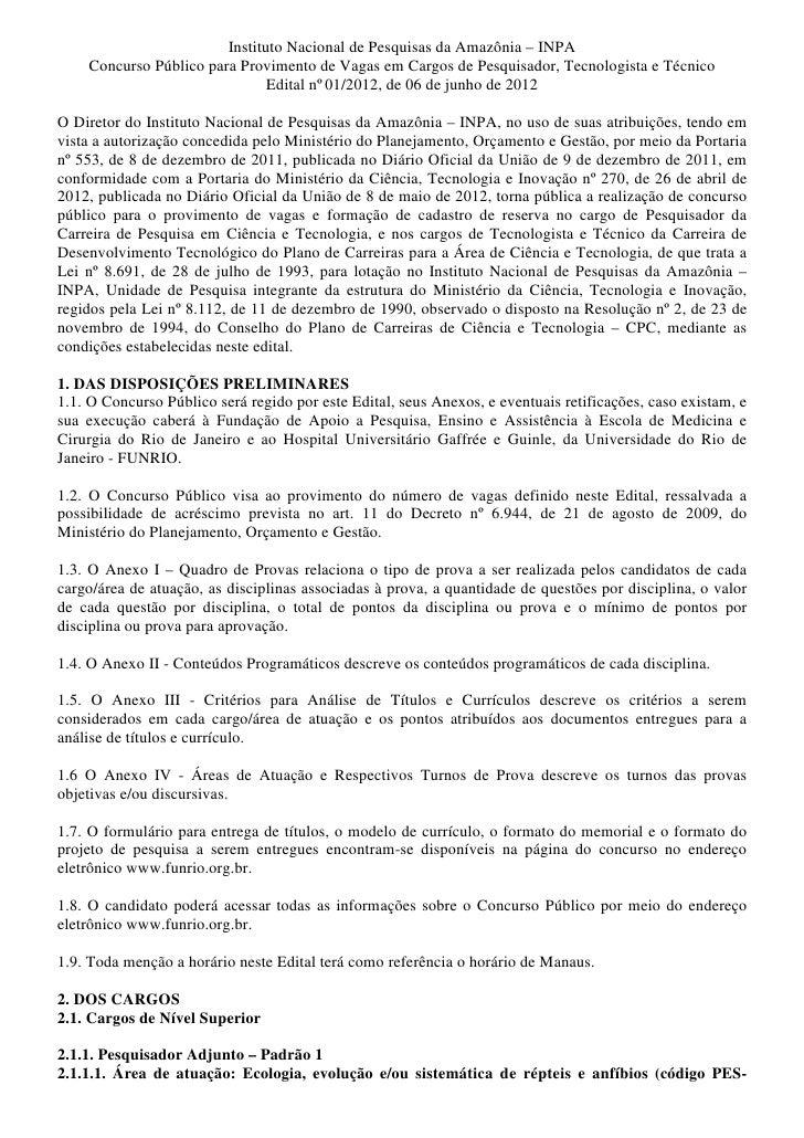 Instituto Nacional de Pesquisas da Amazônia – INPA    Concurso Público para Provimento de Vagas em Cargos de Pesquisador, ...