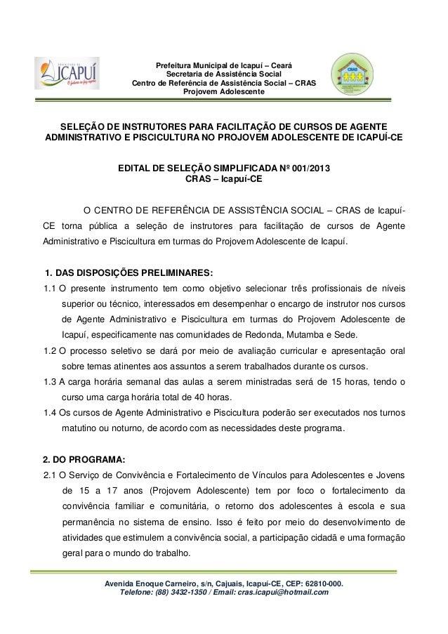 Prefeitura Municipal de Icapuí – Ceará Secretaria de Assistência Social Centro de Referência de Assistência Social – CRAS ...