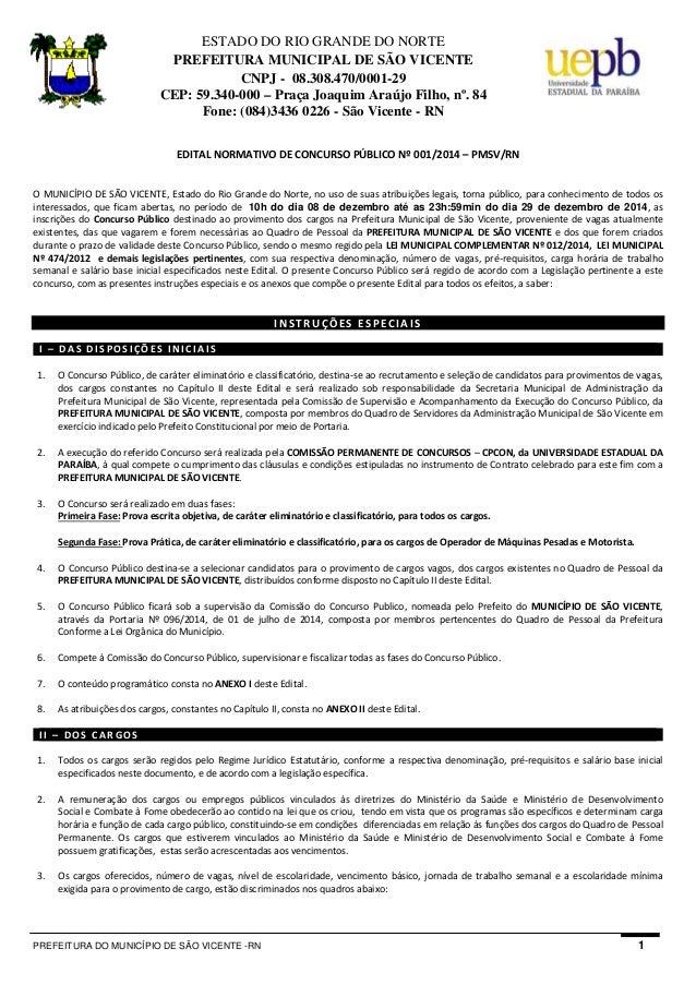 PREFEITURA DO MUNICÍPIO DE SÃO VICENTE -RN 1 ESTADO DO RIO GRANDE DO NORTE PREFEITURA MUNICIPAL DE SÃO VICENTE CNPJ - 08.3...