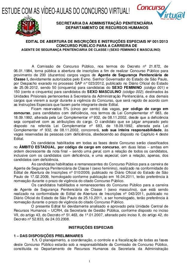 ESTUDE COM AS VÍDEO-AULAS DO CONCURSO VIRTUAL!                              SECRETARIA DA ADMINISTRAÇÃO PENITENCIÁRIA     ...