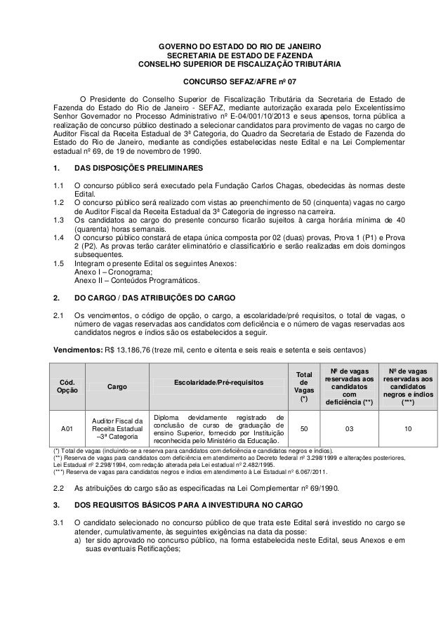 GOVERNO DO ESTADO DO RIO DE JANEIRO SECRETARIA DE ESTADO DE FAZENDA CONSELHO SUPERIOR DE FISCALIZAÇÃO TRIBUTÁRIA CONCURSO ...