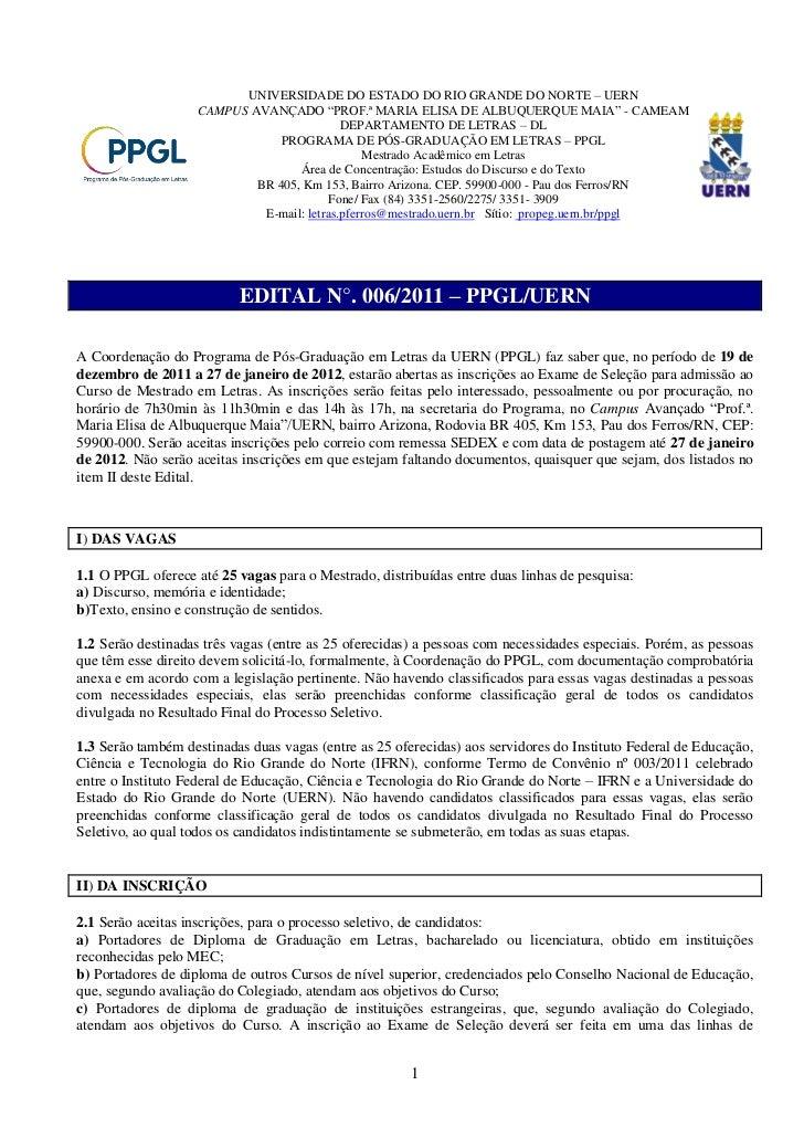 """UNIVERSIDADE DO ESTADO DO RIO GRANDE DO NORTE – UERN                    CAMPUS AVANÇADO """"PROF.ª MARIA ELISA DE ALBUQUERQUE..."""