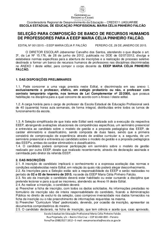 Coordenadoria Regional de Desenvolvimento da Educação – CREDE11 /JAGUARIBE ESCOLA ESTADUAL DE EDUCAÇÃO PROFISSIONAL MARIA ...