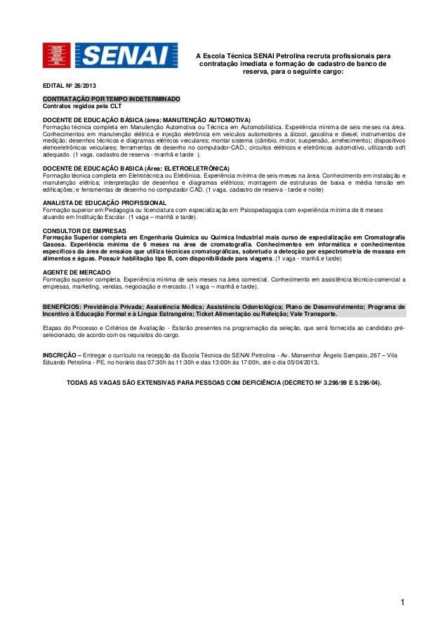 A Escola Técnica SENAI Petrolina recruta profissionais para                                                         contra...
