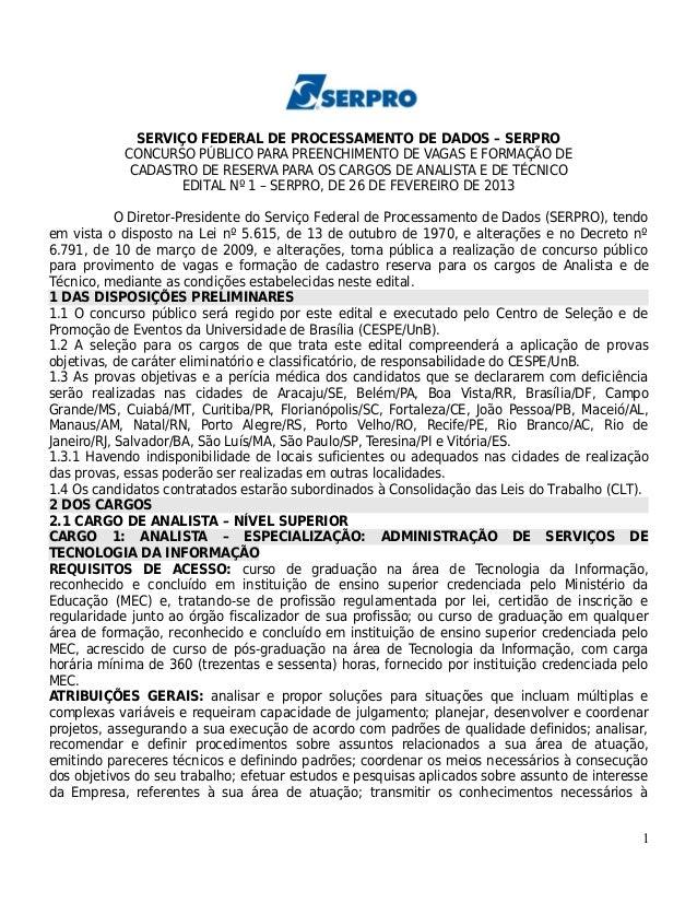 SERVIÇO FEDERAL DE PROCESSAMENTO DE DADOS – SERPRO            CONCURSO PÚBLICO PARA PREENCHIMENTO DE VAGAS E FORMAÇÃO DE  ...