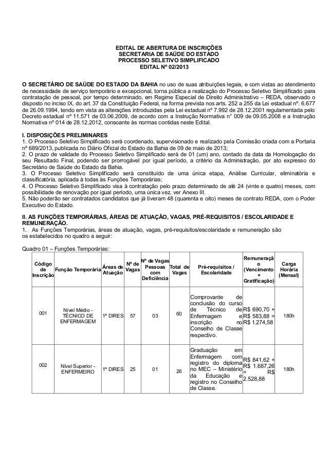 EDITAL DE ABERTURA DE INSCRIÇÕESSECRETARIA DE SAÚDE DO ESTADOPROCESSO SELETIVO SIMPLIFICADOEDITAL Nº 02/2013O SECRETÁRIO D...