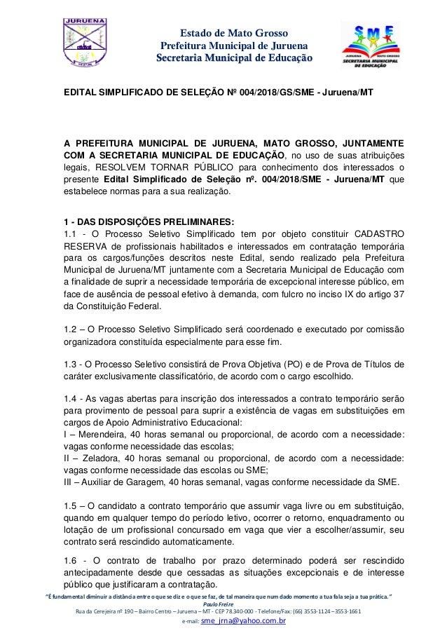 "Estado de Mato Grosso Prefeitura Municipal de Juruena SSeeccrreettaarriiaa MMuunniicciippaall ddee EEdduuccaaççããoo ""É fun..."