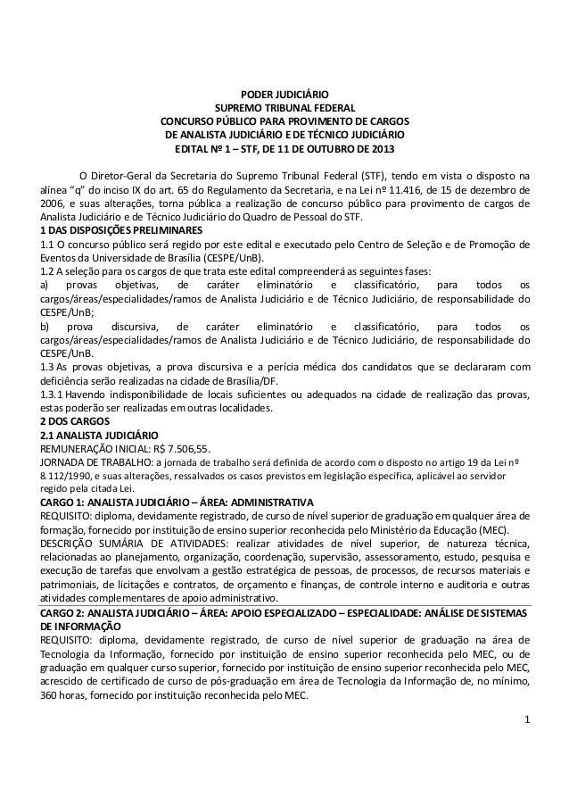 PODER JUDICIÁRIO SUPREMO TRIBUNAL FEDERAL CONCURSO PÚBLICO PARA PROVIMENTO DE CARGOS DE ANALISTA JUDICIÁRIO E DE TÉCNICO J...