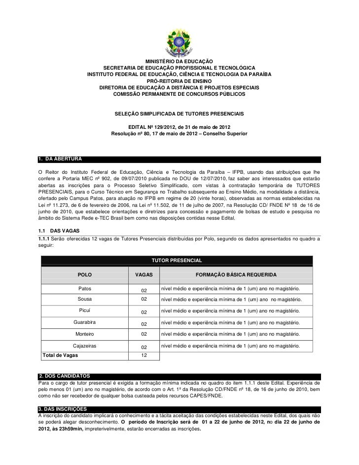 MINISTÉRIO DA EDUCAÇÃO                           SECRETARIA DE EDUCAÇÃO PROFISSIONAL E TECNOLÓGICA                     INS...