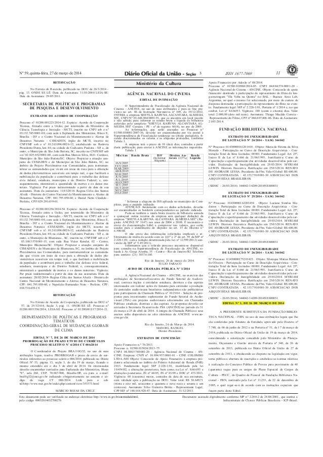 Nº 59, quinta-feira, 27 de março de 2014 11ISSN 1677-7069 Este documento pode ser verificado no endereço eletrônico http:/...