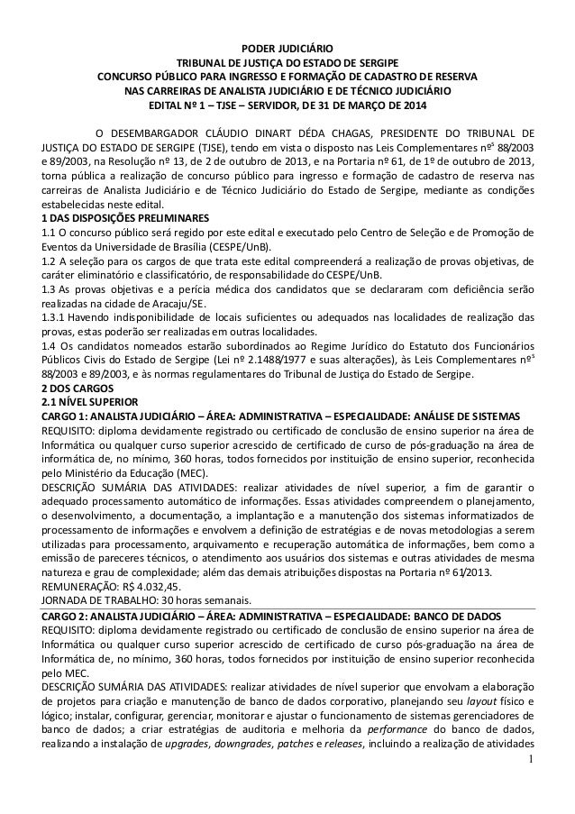 1 PODER JUDICIÁRIO TRIBUNAL DE JUSTIÇA DO ESTADO DE SERGIPE CONCURSO PÚBLICO PARA INGRESSO E FORMAÇÃO DE CADASTRO DE RESER...
