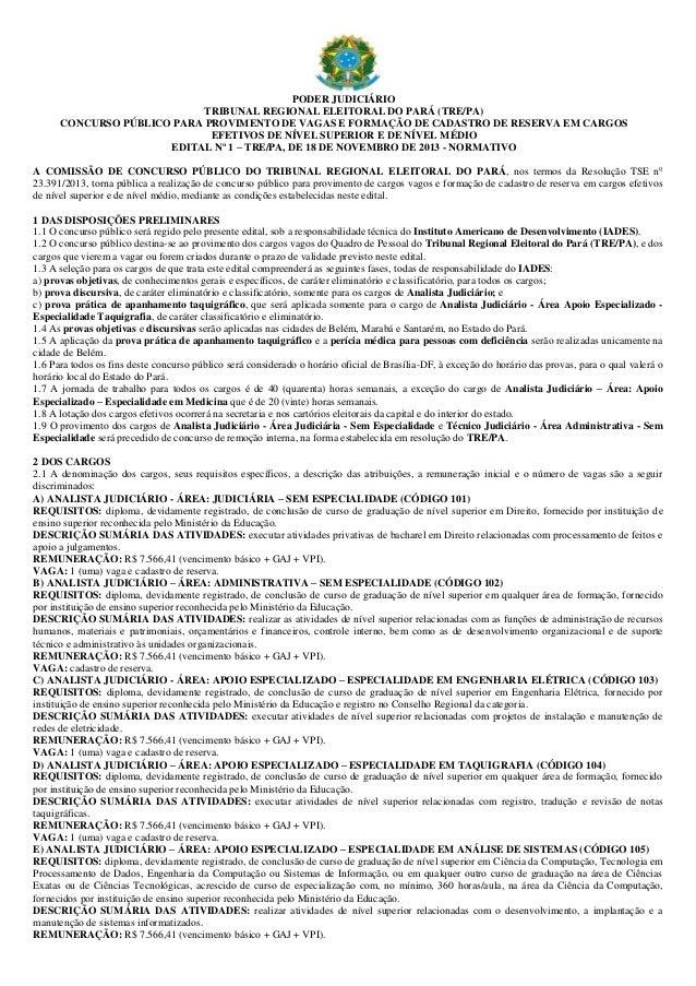 PODER JUDICIÁRIO  TRIBUNAL REGIONAL ELEITORAL DO PARÁ (TRE/PA)  CONCURSO PÚBLICO PARA PROVIMENTO DE VAGAS E FORMAÇÃO DE CA...