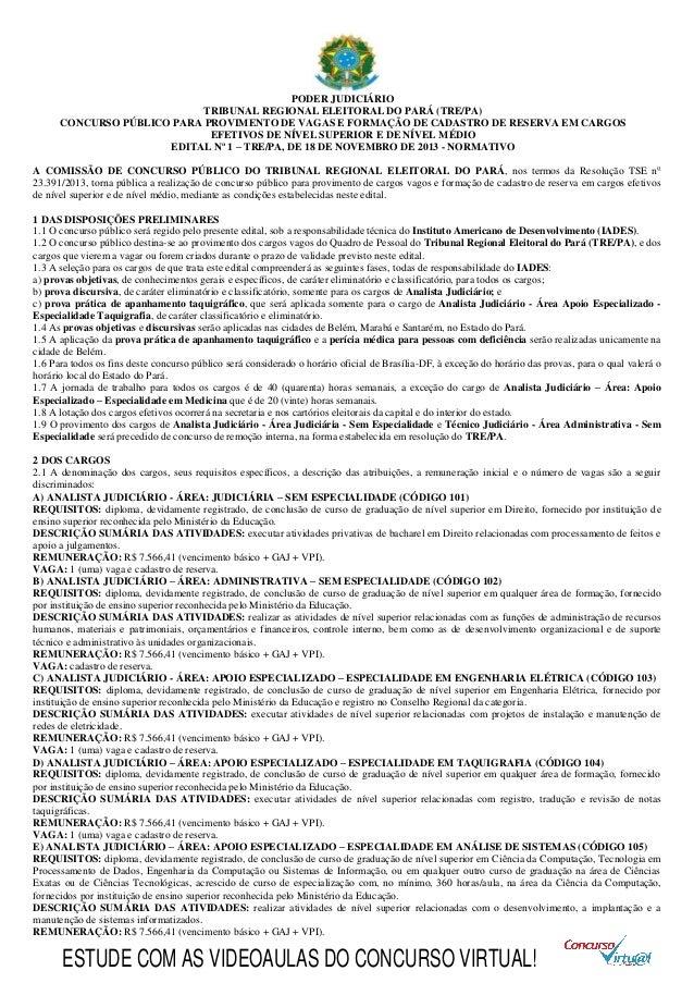PODER JUDICIÁRIO TRIBUNAL REGIONAL ELEITORAL DO PARÁ (TRE/PA) CONCURSO PÚBLICO PARA PROVIMENTO DE VAGAS E FORMAÇÃO DE CADA...