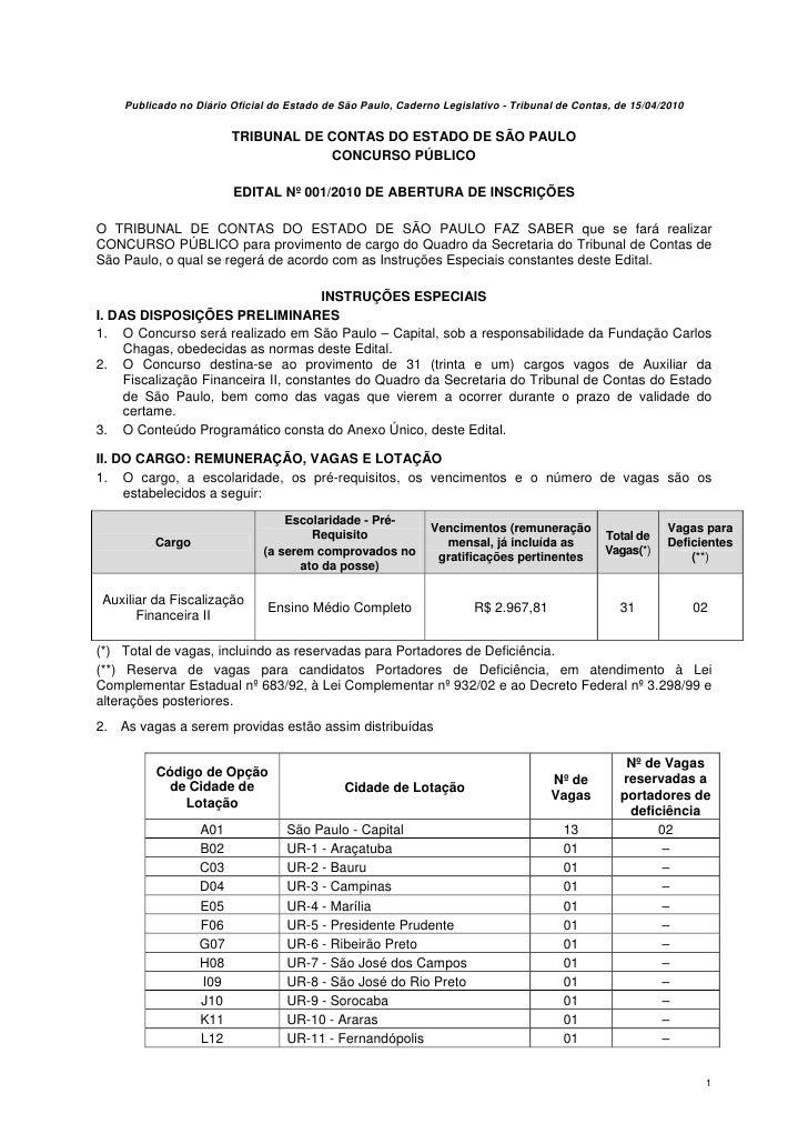 Publicado no Diário Oficial do Estado de São Paulo, Caderno Legislativo - Tribunal de Contas, de 15/04/2010               ...