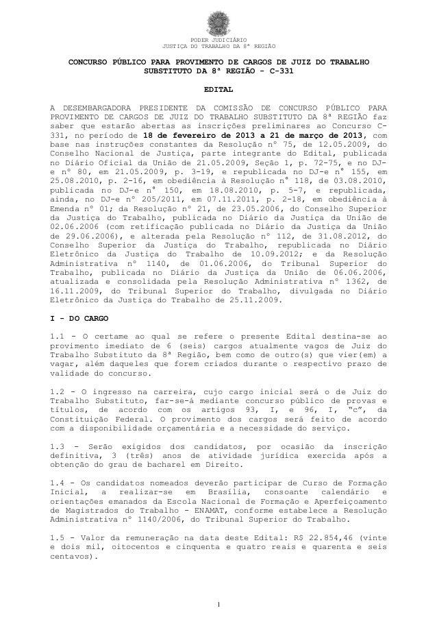 PODER JUDICIÁRIO                      JUSTIÇA DO TRABALHO DA 8ª REGIÃO   CONCURSO PÚBLICO PARA PROVIMENTO DE CARGOS DE JUI...
