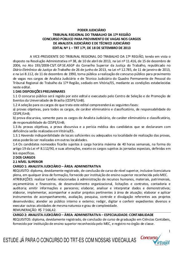 1 PODER JUDICIÁRIO TRIBUNAL REGIONAL DO TRABALHO DA 17ª REGIÃO CONCURSO PÚBLICO PARA PROVIMENTO DE VAGAS NOS CARGOS DE ANA...