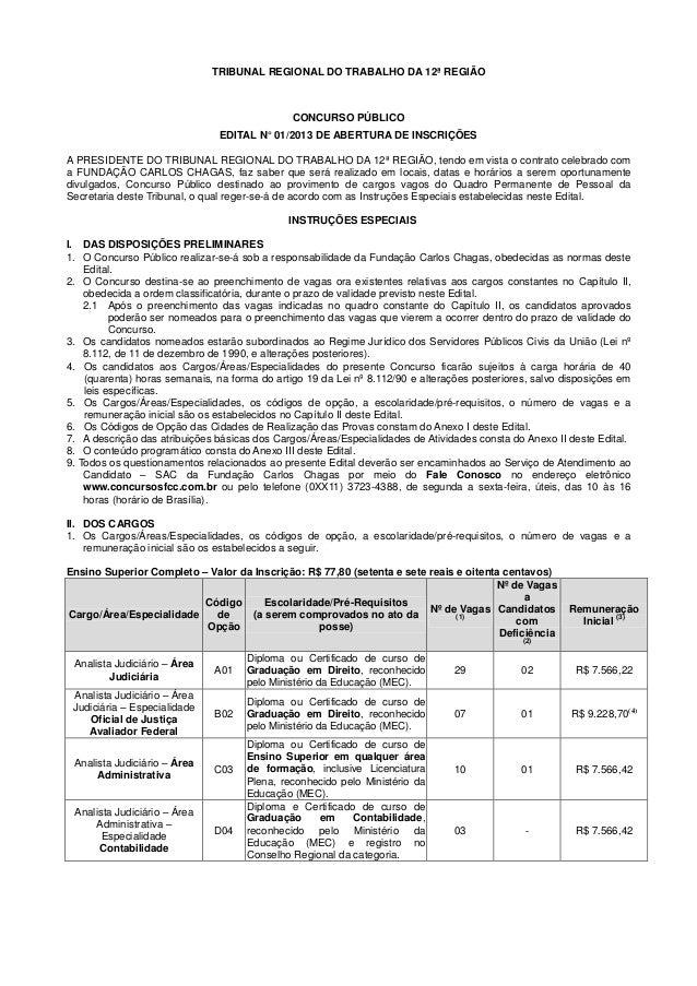 TRIBUNAL REGIONAL DO TRABALHO DA 12ª REGIÃO CONCURSO PÚBLICO EDITAL N°01/2013 DE ABERTURA DE INSCRIÇÕES A PRESIDENTE DO TR...
