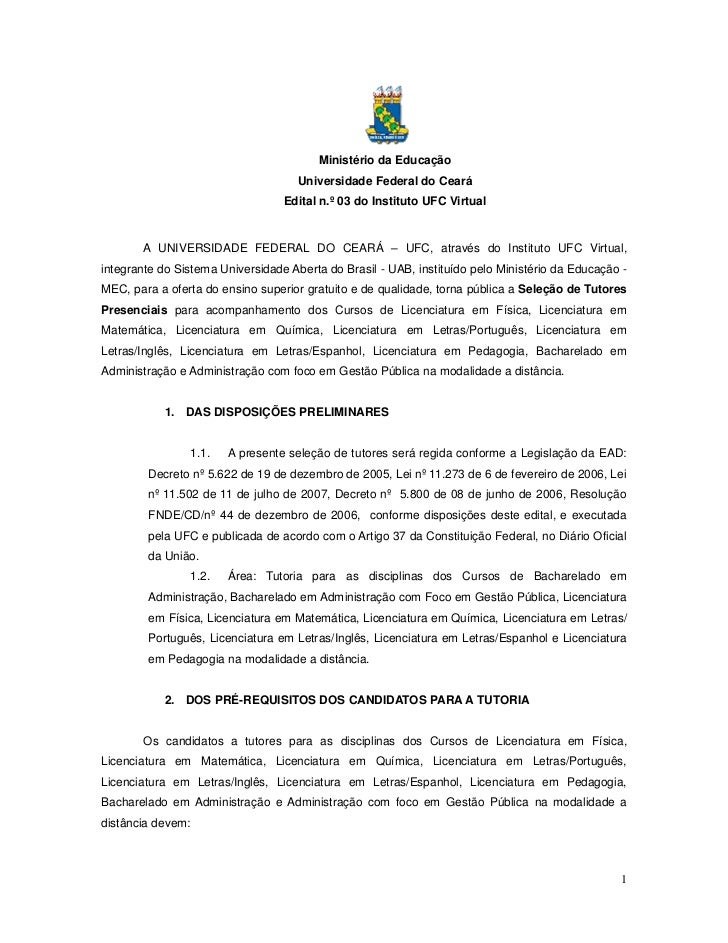 Ministério da Educação                                     Universidade Federal do Ceará                                  ...