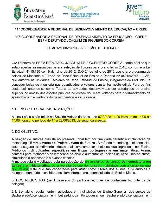 11ª COORDENADORIA REGIONAL DE DESENVOLVIMENTO DA EDUCAÇÃO – CREDE10ª COORDENADORIA REGIONAL DE DESENVOLVIMENTO DA EDUCAÇÃO...