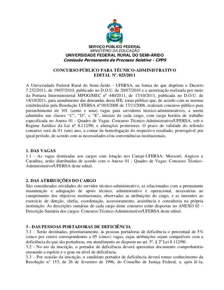 SERVIÇO PÚBLICO FEDERAL                                   MINISTÉRIO DA EDUCAÇÃO                     UNIVERSIDADE FEDERAL ...