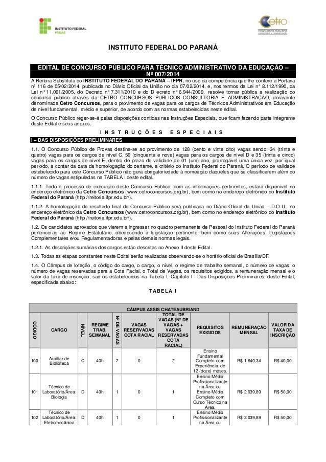 INSTITUTO FEDERAL DO PARANÁ  EDITAL DE CONCURSO PÚBLICO PARA TÉCNICO ADMINISTRATIVO DA EDUCAÇÃO –  Nº 007/2014  A Reitora ...