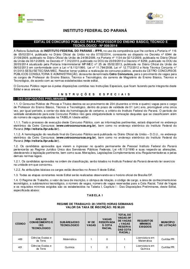 INSTITUTO FEDERAL DO PARANÁ  EDITAL DE CONCURSO PÚBLICO PARA PROFESSOR DO ENSINO BÁSICO, TÉCNICO E  TECNOLÓGICO - Nº 008/2...