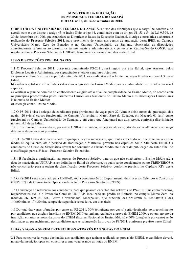 MINISTÉRIO DA EDUCAÇÃO                                    UNIVERSIDADE FEDERAL DO AMAPÁ                                   ...