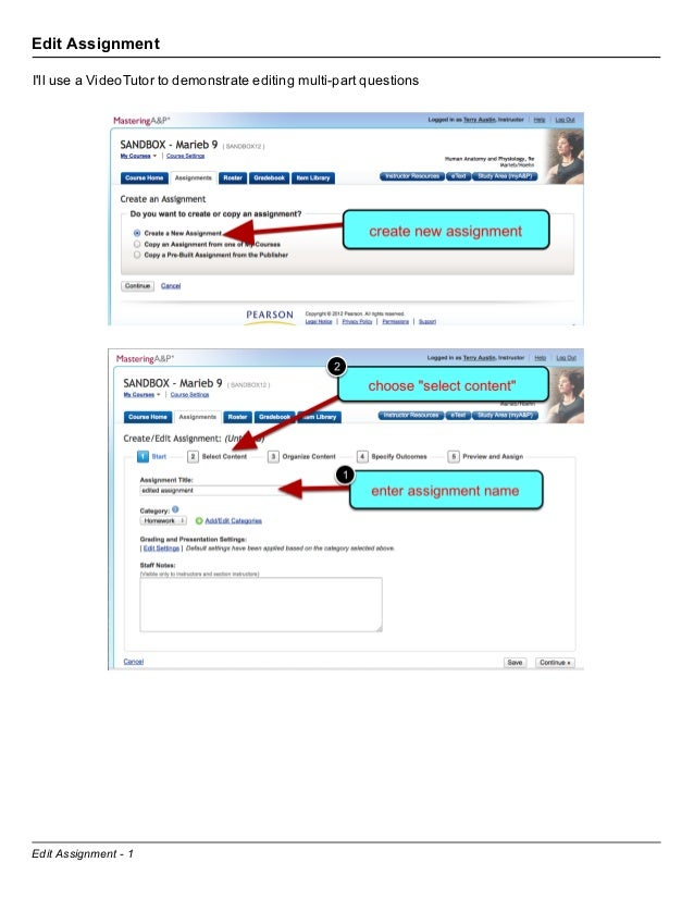 Edit AssignmentIll use a VideoTutor to demonstrate editing multi-part questionsEdit Assignment - 1