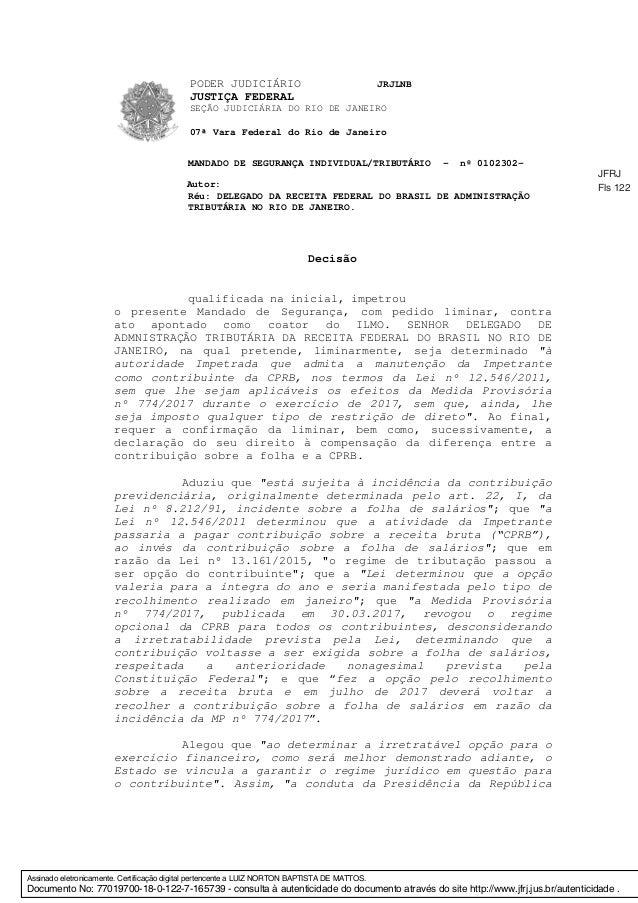 PODER JUDICIÁRIO JRJLNB JUSTIÇA FEDERAL SEÇÃO JUDICIÁRIA DO RIO DE JANEIRO 07ª Vara Federal do Rio de Janeiro MANDADO DE S...