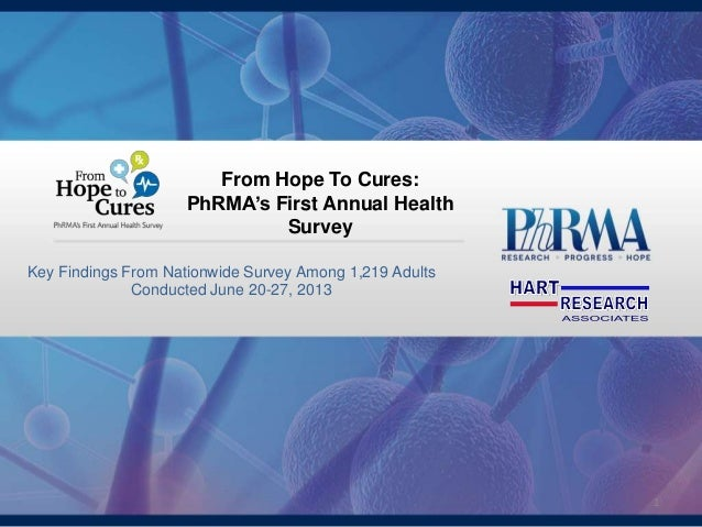 1 Key Findings From Nationwide Survey Among 1,219 Adults Conducted June 20-27, 2013 From Hope To Cures: PhRMA's First Annu...