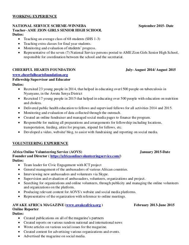 resume for volunteering