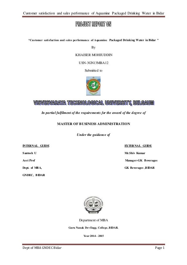 packaged drinking water plant project report pdf