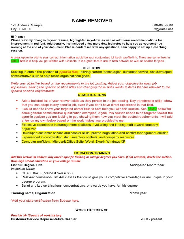 Resume Review Sample. NAME REMOVED 123 Address, Sample City, IL 60000  888 888 8888 X ...