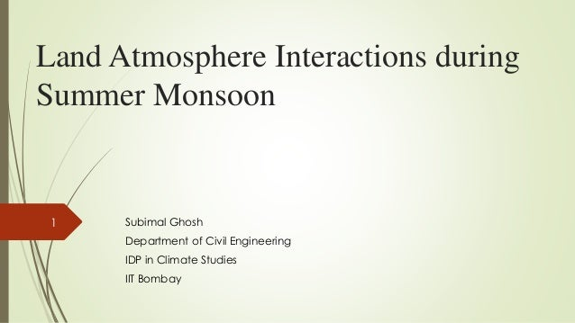 Land Atmosphere Interactions during Summer Monsoon Subimal Ghosh Department of Civil Engineering IDP in Climate Studies II...