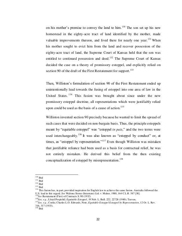 Doctrine of promissory estoppel essays
