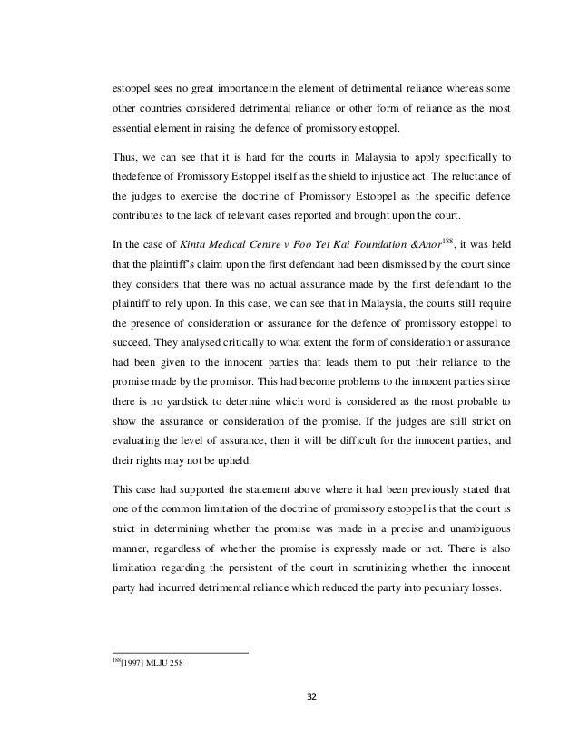 The Doctrine regarding Promissory Estoppel