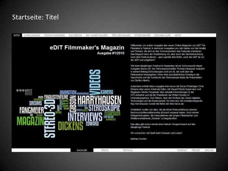 eDIT Filmmaker's Magazine Online-Magazin Slide 3