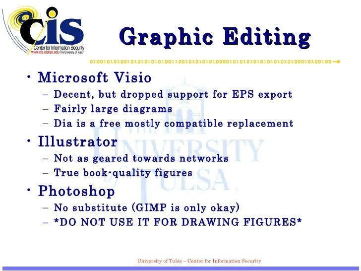 Graphic Editing <ul><li>Microsoft Visio </li></ul><ul><ul><li>Decent, but dropped support for EPS export </li></ul></ul><u...