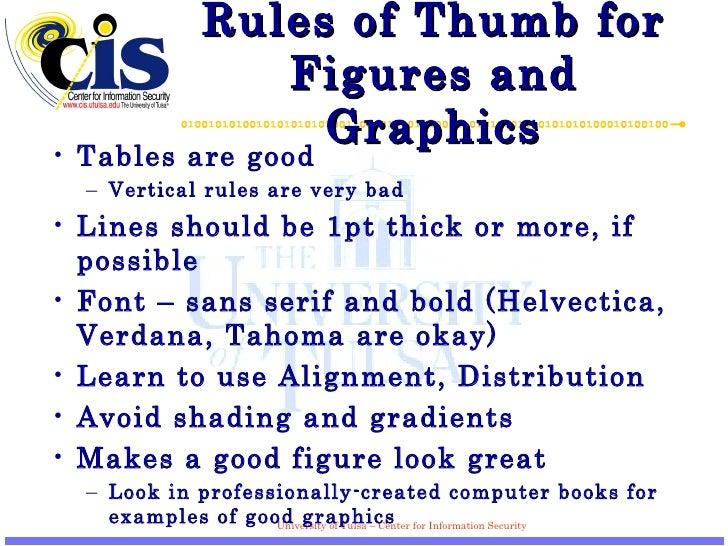 Rules of Thumb for Figures and Graphics <ul><li>Tables are good </li></ul><ul><ul><li>Vertical rules are very bad </li></u...
