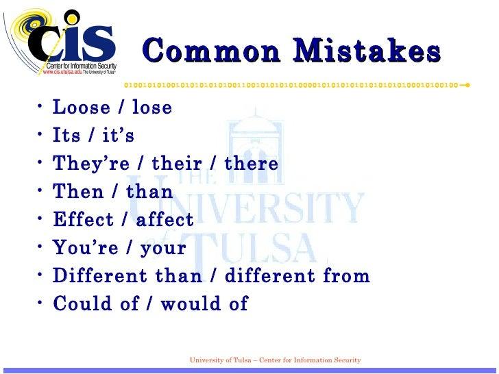 Common Mistakes  <ul><li>Loose / lose  </li></ul><ul><li>Its / it's </li></ul><ul><li>They're / their / there  </li></ul><...
