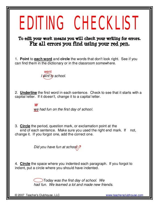 creative writing peer touch-ups checklist